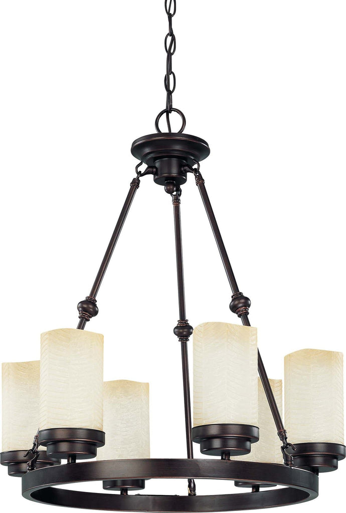 Nuvo Lucern - 6 Light 20 inch Round Chandelier w/ Saddle Stone Glass