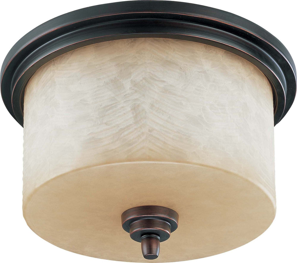 Nuvo Lucern - 3 Light 14 inch Flush Dome w/ Saddle Stone Glass