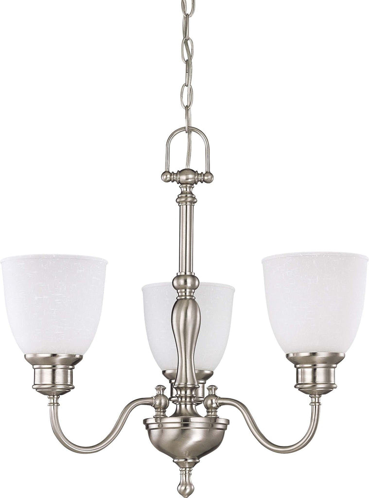 Nuvo Bella - 3 Light Chandelier w/ Frosted Linen Glass