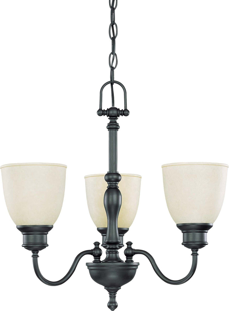 Nuvo Bella - 3 Light Chandelier w/ Biscotti Glass