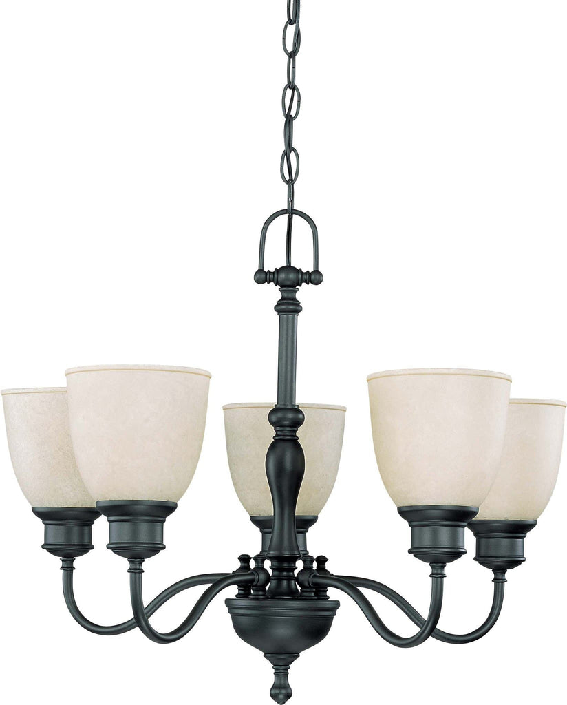 Nuvo Bella - 5 Light (arms up) Chandelier w/ Biscotti Glass