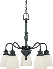 Nuvo Bella - 5 Light (arms down) Chandelier w/ Biscotti Glass