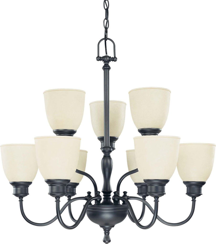 Nuvo Bella - 9 Light 2 Tier Chandelier w/ Biscotti Glass