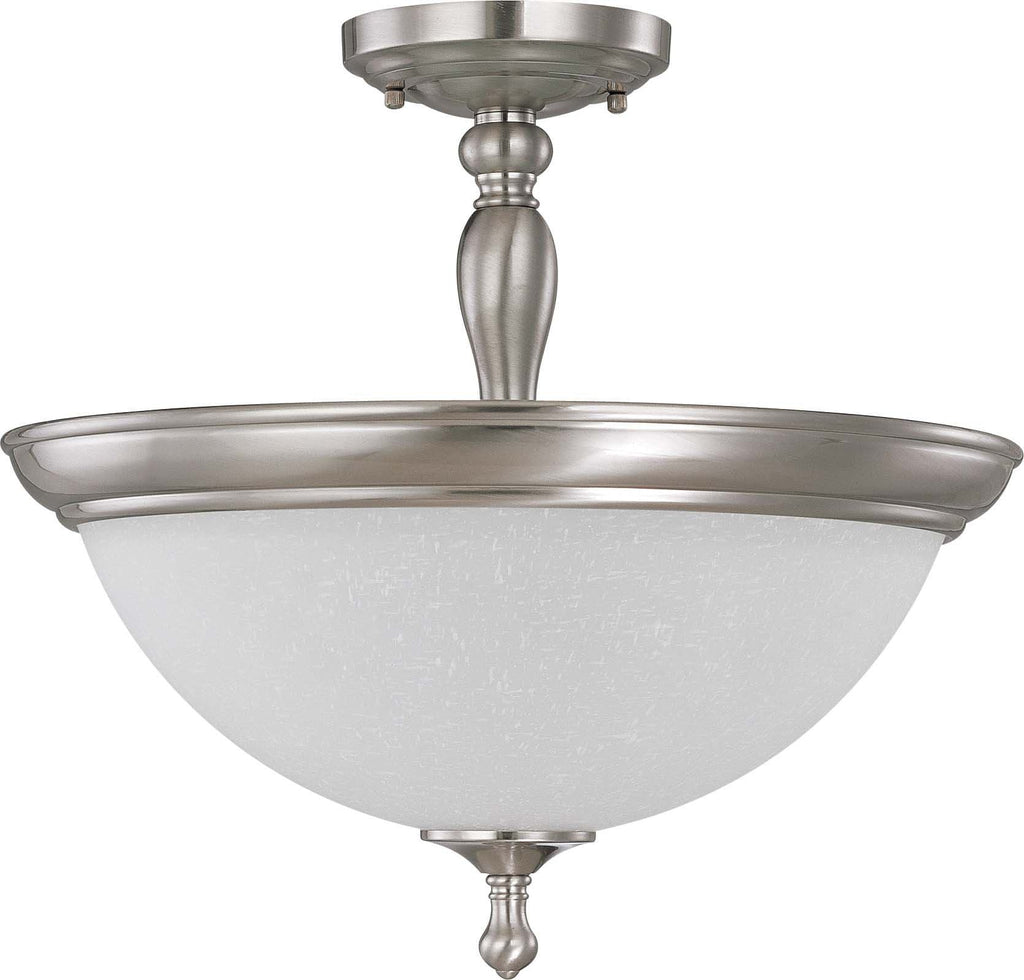 Nuvo Bella - 3 Light Semi Flush (convertible) w/ Frosted Linen Glass