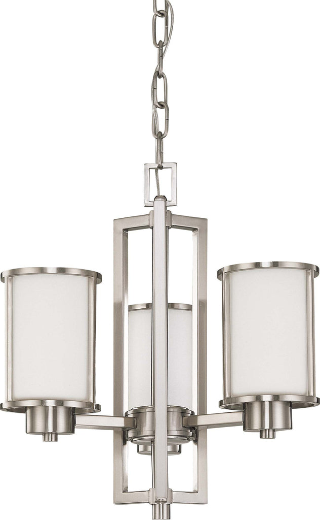 Nuvo Odeon - 3 Light (convertible up/down) Chandelier w/ Satin White Glass
