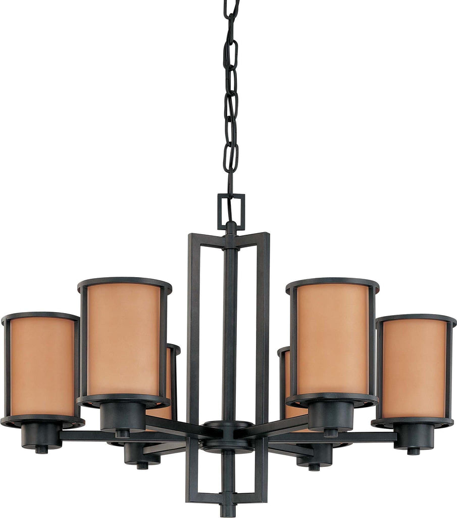 Nuvo Odeon - 6 Light (convertible up/down) Chandelier w/ Parchment Glass