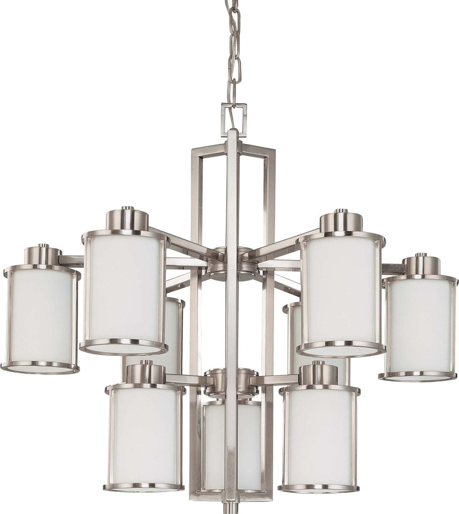 Nuvo Odeon - 6 + 3 Light Chandelier w/ Satin White Glass