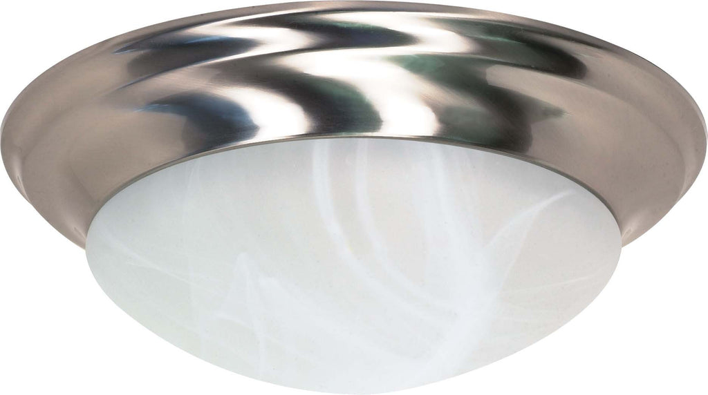 "Nuvo 3-Light 17"" Twist & Lock Flush w/ Alabaster Glass in Brushed Nickel Finish"