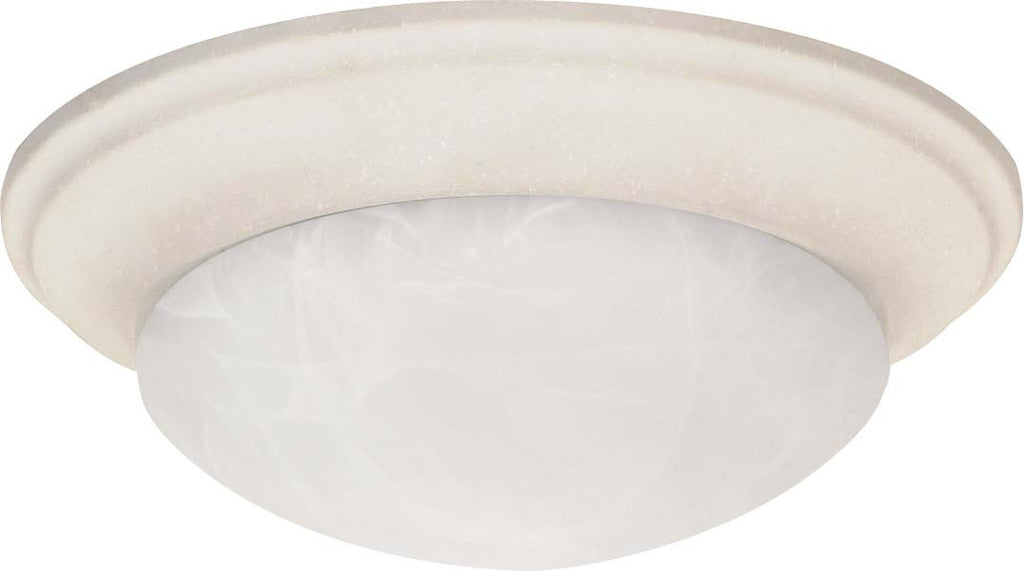 Nuvo 2 Light - 14 inch - Flush Mount - Twist & Lock w/ Alabaster Glass