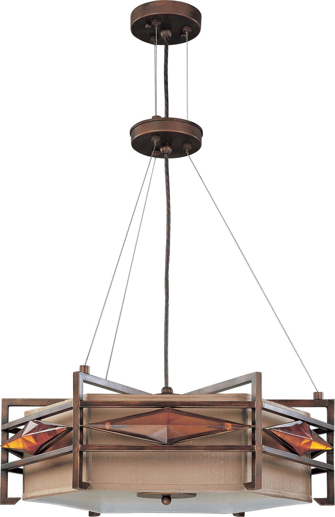 Nuvo Gable - 3 Light Pendant w/ Golden Bronze Fabric Shade
