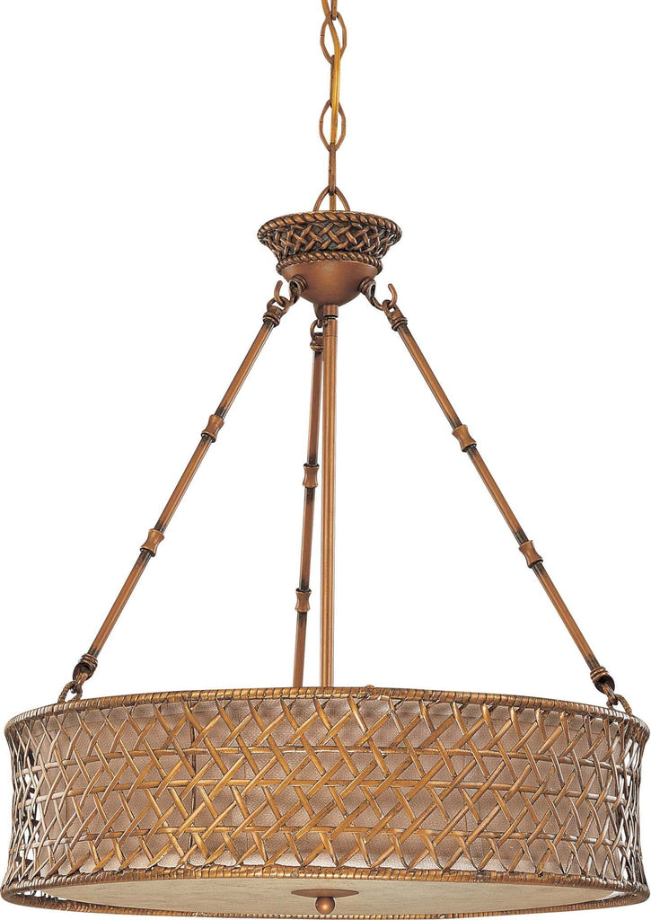 Nuvo Abbott - 3 Light Pendant w/ Beige Linen Weave Shade