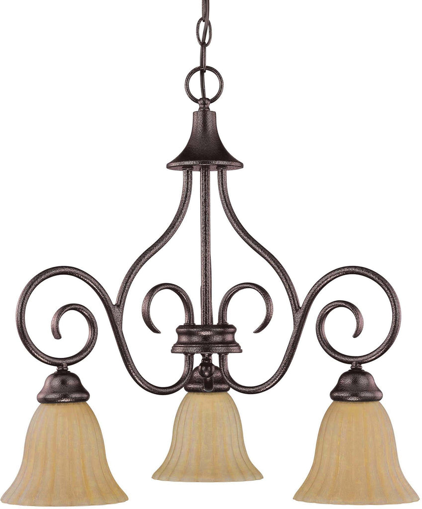 Nuvo Moulan - 3 Light Chandelier - Arms Down w/ Champagne Linen Washed Glass