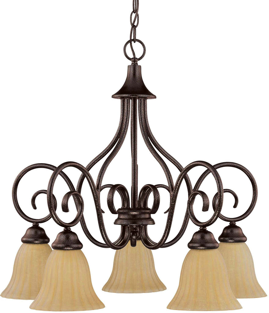 Nuvo Moulan - 5 Light Chandelier - Arms Down w/ Champagne Linen Washed Glass