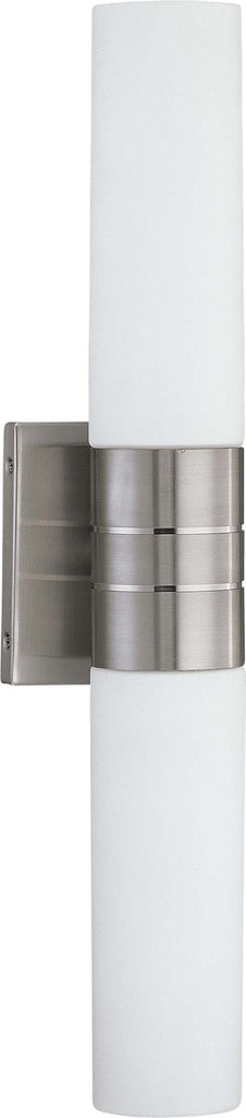 Nuvo Link - 2 Light (Vertical) Tube Wall Sconce w/ White Glass