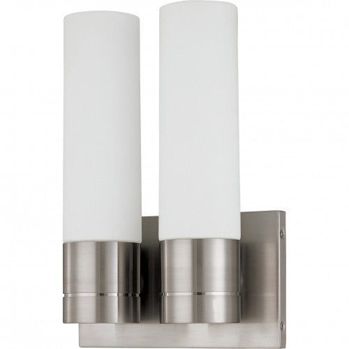 Nuvo Link - 2 Light (Twin)Tube Wall Sconce w/ White Glass