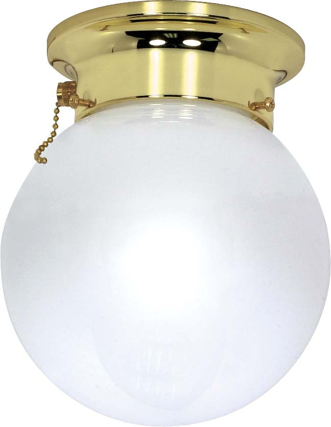 Nuvo 1 Light - 6 inch - Ceiling Mount - White Ball w/ Pull Chain Switch