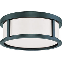 Nuvo Odeon - 2 Light 13 inch Flush Dome w/ Satin White Glass Aged Bronze