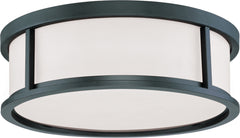 "Nuvo Odeon 3-Light 17"" Flush Dome w/ Satin White Glass in Aged Bronze Finish"