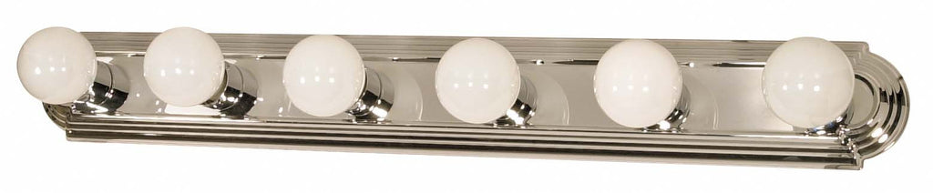 "Nuvo 6-Light 36"" Vanity Strip w/ Racetrack Style in Polished Chrome Finish"