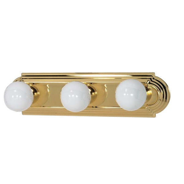 "Nuvo 3-Light 18"" Vanity Strip Fixture w/ Racetrack Style in Polished Brass"