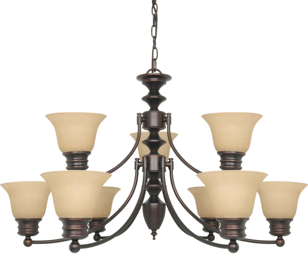Nuvo Empire ES - 9 Light 32 in Chandelier w/ Champagne Glass, (9) 13w GU24 Lamps