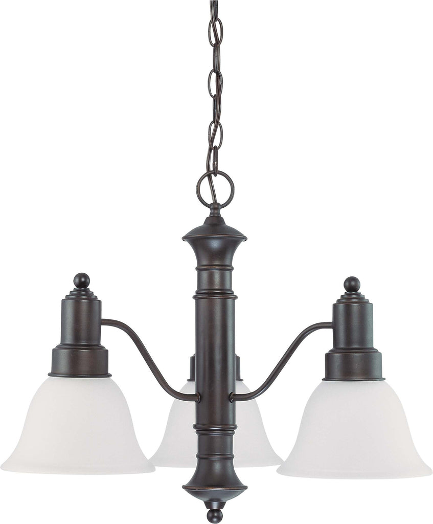 Nuvo Gotham - 3 Light 23 inch Chandelier w/ Frosted White Glass