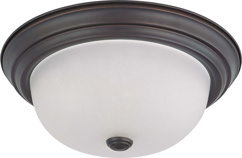 "Nuvo 2-Light 13"" Ceiling Flush Mount w/ Frosted White Glass in Mahogany Bronze"