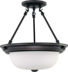 Nuvo 2 Light 13 inch Semi-Flush w/ Frosted White Glass