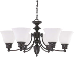 "Nuvo Empire 6-Light 26"" Chandelier w/ Frosted White Glass in Mahogany Bronze"
