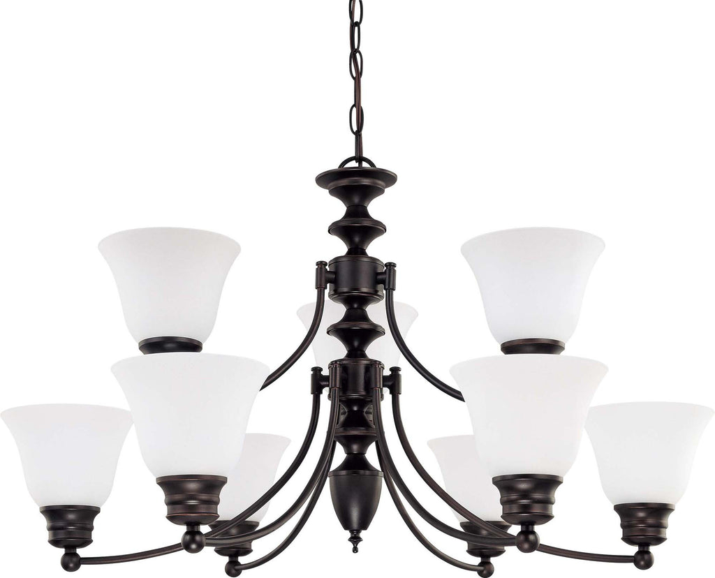 Nuvo Empire - 9 Light 32 inch Chandelier w/ Frosted White Glass