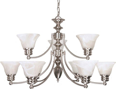 Nuvo Empire ES - 9 Light 32 inch Chandelier w/ Alabaster Glass - (9) 13w GU24 Lamps Incl.