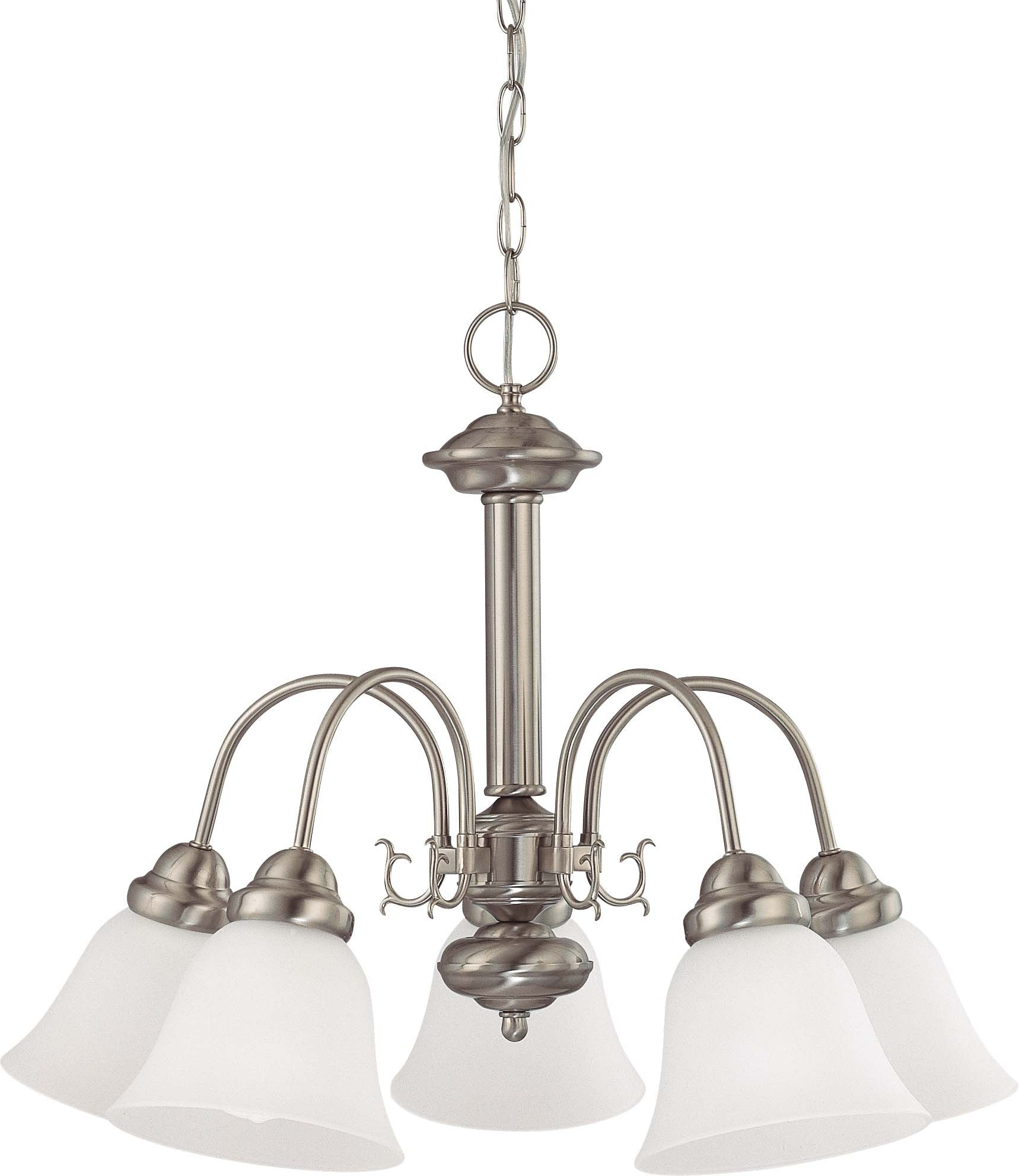 """Nuvo Ballerina 5-Light 24"""" Chandelier w/ Frosted White Glass in Brushed Nickel"""