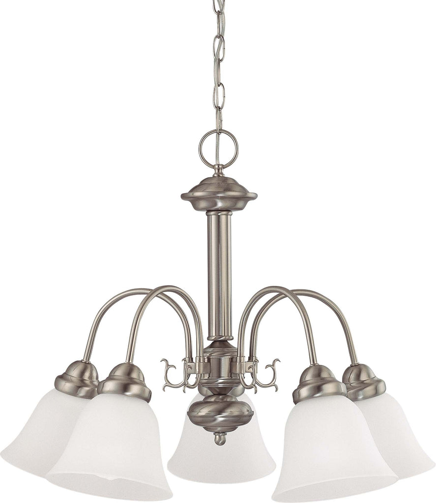 "Nuvo Ballerina 5-Light 24"" Chandelier w/ Frosted White Glass in Brushed Nickel"