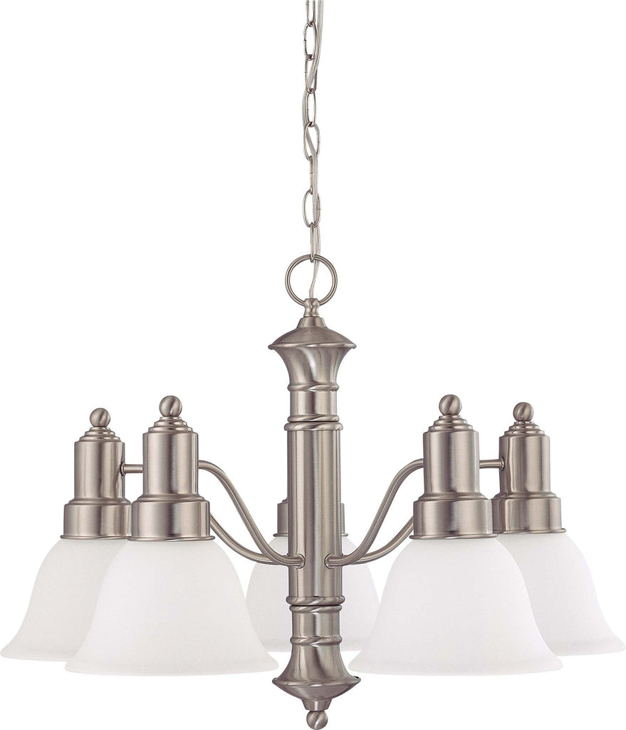 Nuvo Gotham - 5 Light 25 inch Chandelier w/ Frosted White Glass