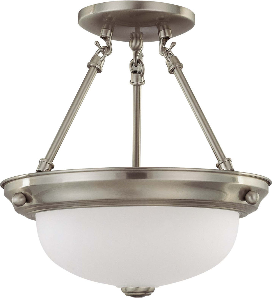 Nuvo 2 Light 11 inch Semi-Flush w/ Frosted White Glass