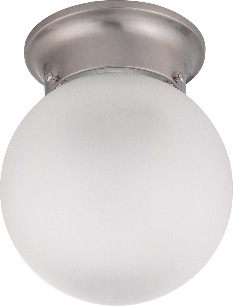 "Nuvo 1-Light 6"" Flush Ball Ceiling Light w/Frosted White Glass in Brushed Nickel"