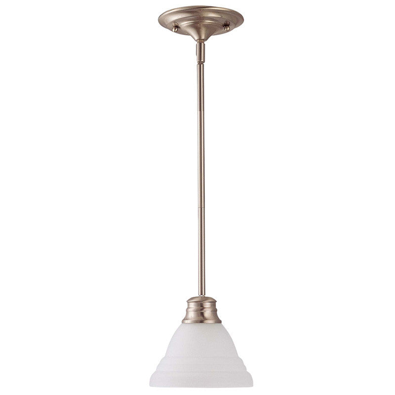 "Nuvo Empire 1-Light 7"" Mini Pendant w/ Frosted White Glass in Brushed Nickel"