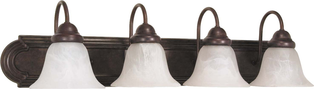 Nuvo Ballerina - 4 Light - 30 inch - Vanity - w/ Alabaster Glass Bell Shades
