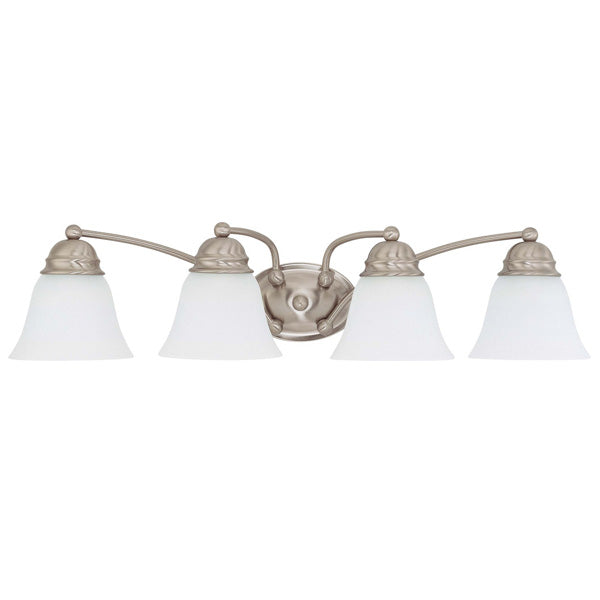 """Nuvo Empire 4-Light 29"""" Vanity w/ Frosted White Glass in Brushed Nickel Finish"""