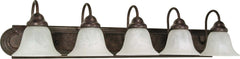 Nuvo Ballerina - 5 Light - 36 inch - Vanity - w/ Alabaster Glass Bell Shades