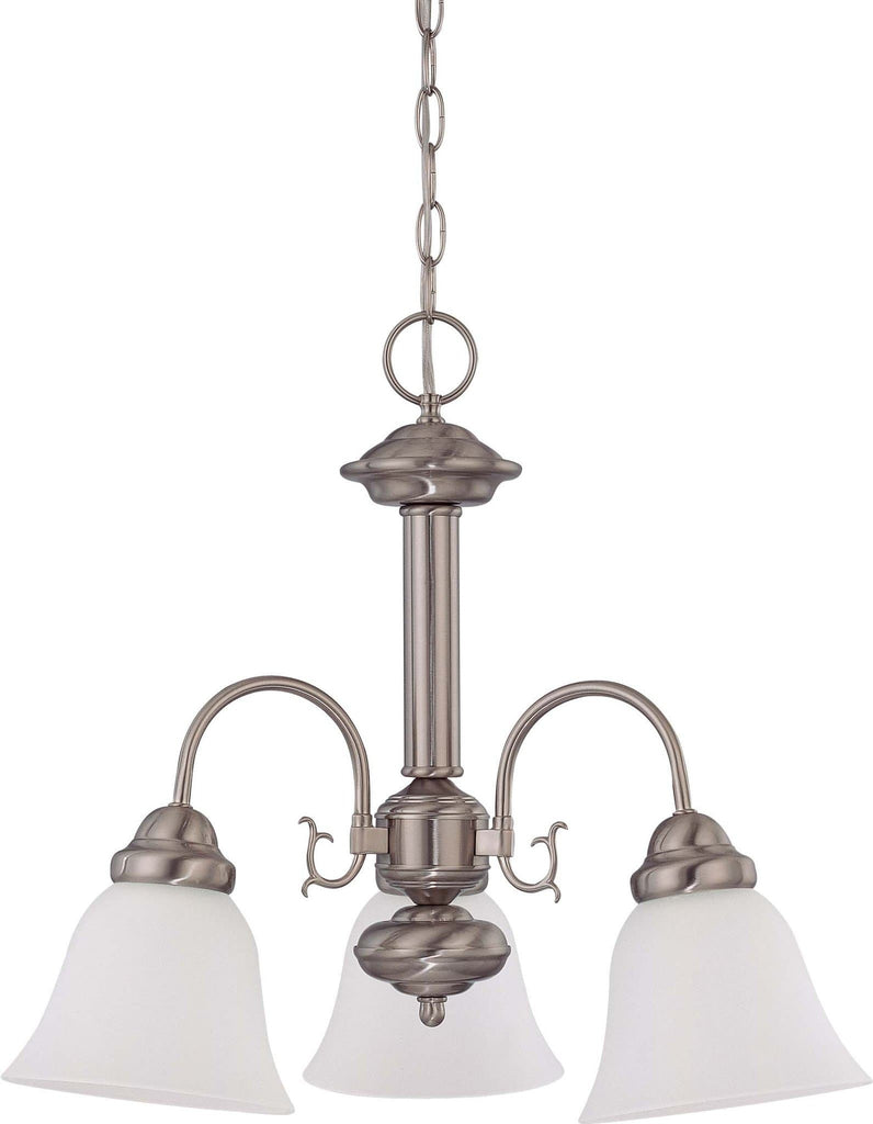Nuvo Ballerina ES -20in Chandelier w/ Frosted White Glass, 3 Lamps 13w GU24