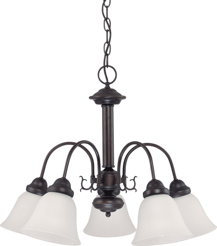 Nuvo Ballerina ES - 24in Chandelier w/ Frosted White Glass, 5 Lamps 13w GU24