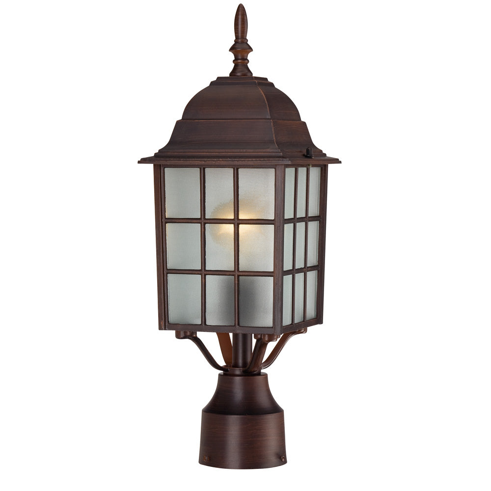 1-Light Post Mounted Outdoor Light Fixture in Rustic Bronze Finish