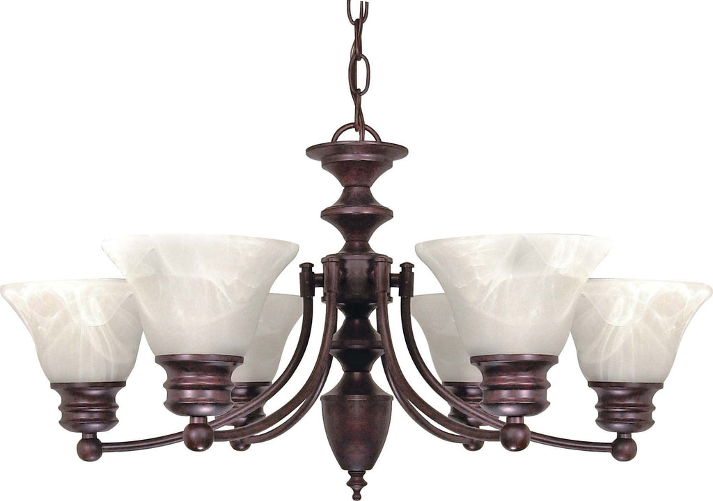 "Nuvo Empire 6-Light 26"" Chandelier w/ Alabaster Glass in Old Bronze Finish"