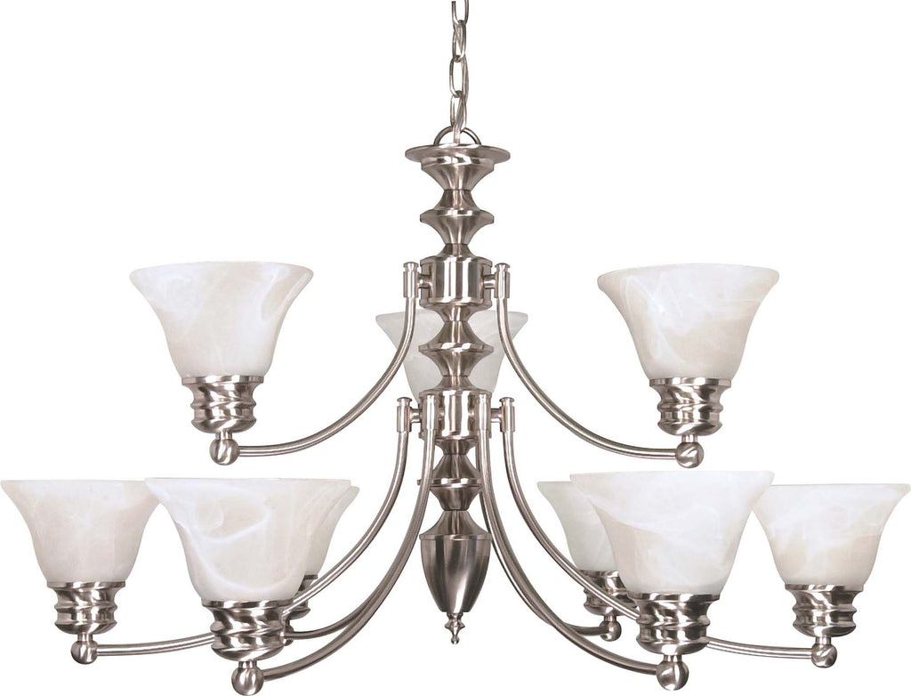 Nuvo Empire - 9 Light  32 in - Chandelier w/ Alabaster Glass Bell Shades, 2 Tier