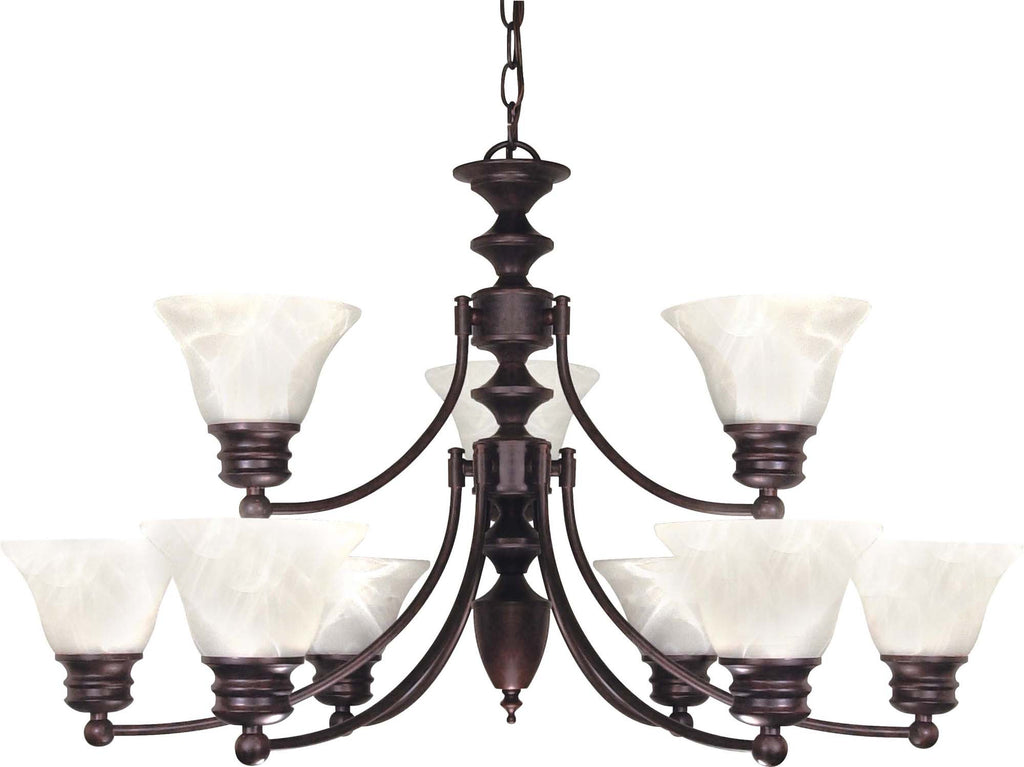 Nuvo Empire - 9 Light - 32 inch - Chandelier - w/ Alabaster Glass Bell Shades, 2 Tier