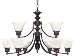 "Nuvo Empire 9-Light 2-Tier 32"" Chandelier w/ Alabaster Glass in Old Bronze"