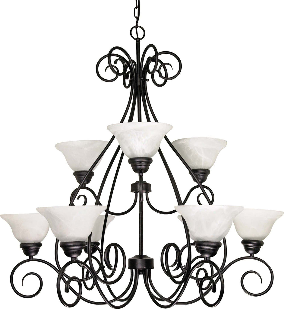 Nuvo Castillo - 9 Light - 34 inch - Chandelier - 2 Tier w/ Alabaster Swirl Glass