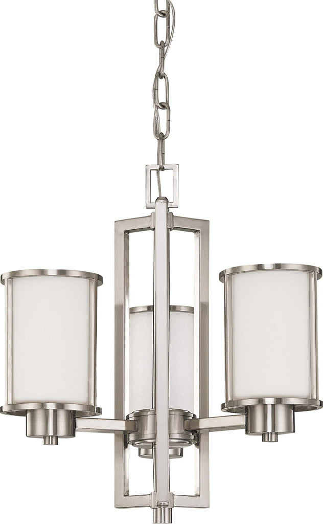 Nuvo Odeon ES - 3 Light Chandelier w/ White Glass - (3) 13w GU24 Lamps Included