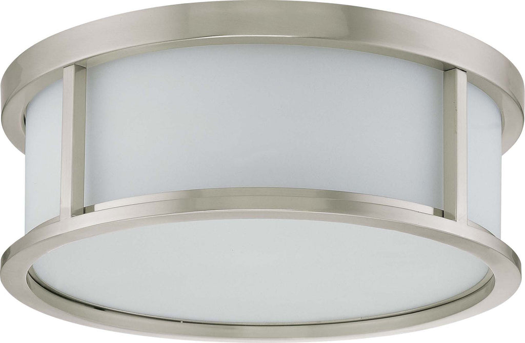Nuvo Odeon ES - 3 Light 17 inch Flush Dome w/ White Glass - (3) 13w GU24 Lamps Included
